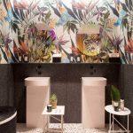 Bathroom, Terrazzo Floor, Black Bottom Part Wall, Vibrant Upper Wall, White Sink, White Table