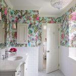 Bathroom, White Floor, White Subway Bottom Wall, White Vanity, White Ceiling, Flowery Wallpaper
