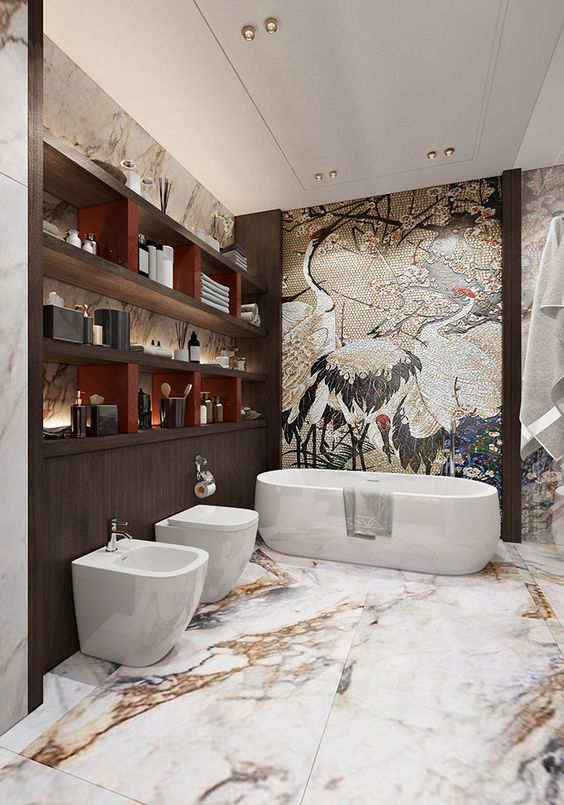 bathroom, white marbled floor, swan picture accent wall, white tub, white toilet, white low sink, wooden shelves
