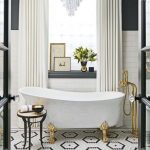 Bathroom, White Subway Wall Tiles, Black Wall, White Tub Golden Feet, White Curtain, Crystal Chandelier, White Black Tiny Hexagonal Floor Tiles, Golden Faucet