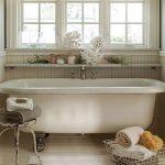 Bathroom, Wooden Floor, White Tub, White Framed Window, White Wooden Wainscoting