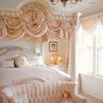 Bedroom, Pinkish Floor, White Wall, Peach Curatin, White Bed, Pink Sofa, Chandelier