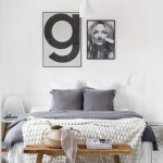 Bedroom, White Wooden Floor, White Wall, White Pendant, Bed With Grey Bedding, Woden Bench
