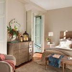 Bedroom, Wooden Floor, Beige Rug, Beige Wall, Beige Cabinet, Beige Bench, Beige Headboard, White Side Table, Glass Door, Beige Chair