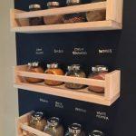 Black Wall, Wooden Floating Shelves, Seasoning Bottles