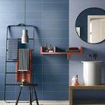 Blue Wall Tiles, Light Blue Backsplash Wall, Round Mirror, Wooden Bench, White Round Tall Small Sink, Black Rack, Black Stool, Wooden Floor