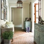 Brick Floor In The Entrance, Green Shabby Cabinet, Wooden Bench, Pednant, White Wall And Ceiling