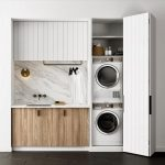 Built In Laundry Cupboard, Shelves, White Sink, Marble Backsplash, Wooden Cabinet