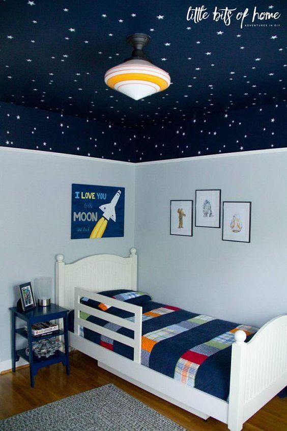 children bedroom, wooden floor, light blue wal, dark blue ceiling with stars, grey rug, white bed platform, blue side table