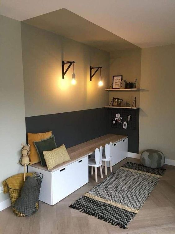 children study, wooden floor, white black, grey wall, white storage with wooden board on top, white rabbit low stool, sconce, floating shelves