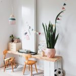 Children Study, Wooden Floor, White Wall, White Crate For Wooden Board, Wooden Small Cabinet, Wooden Chairs, Rug
