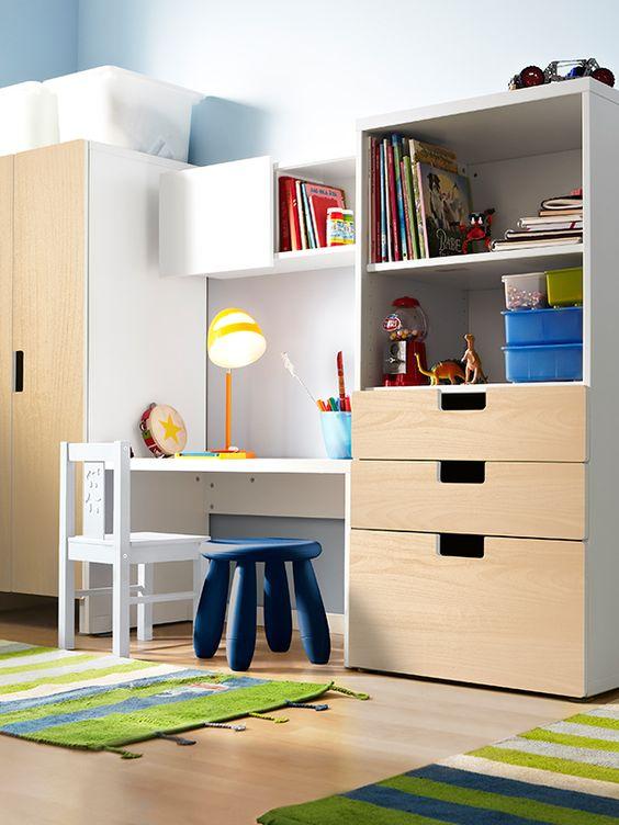 children study, wooden floor, white wall, wooden children table, white table, white blue stools