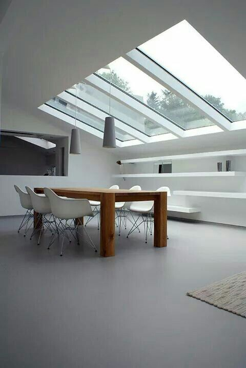 clear glass on the ceiling, dining room, wooden dining table, white modern chairs, white floating shelves, grey pendants