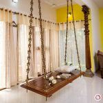 Dark Brown Board Swing In The Living Room, Detailed Rail, White Floor, White Ceiling, Subtle Curtain