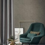 Dark Green Chair With Wingback Accent, Dark Grey Floor, Dark Brown Wall, Golden Coffee Table