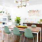 Dining Room, Wooden Floor, Green Modern Chairs, White Wll, White Pendant, Wooden Table