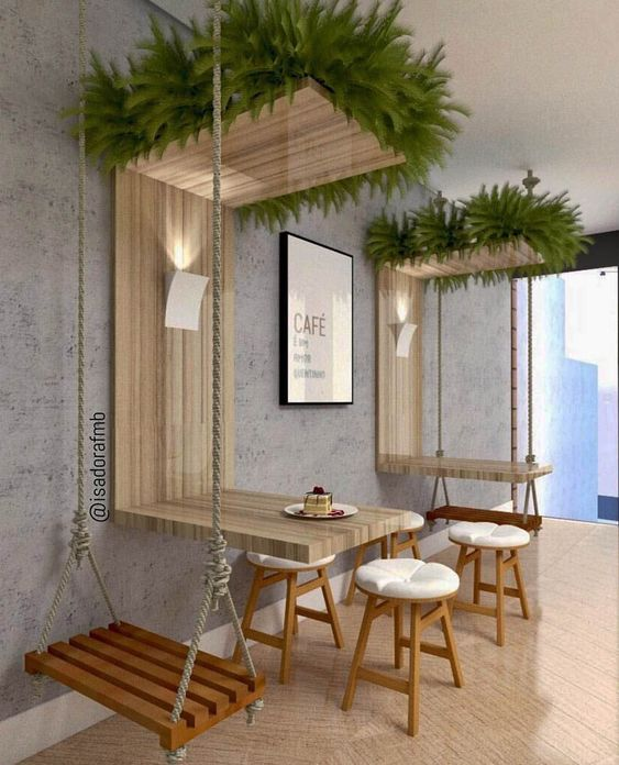 dining room, wooden floor, grey wall, wooden stools, wooden swing, wooden floating table with plants above
