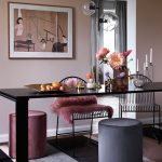 Dining Room, Wooden Table, Dark Striped Rug, Pink Purple Stool, Soft Pink Wall, Glass Pendants, Wired Chairs