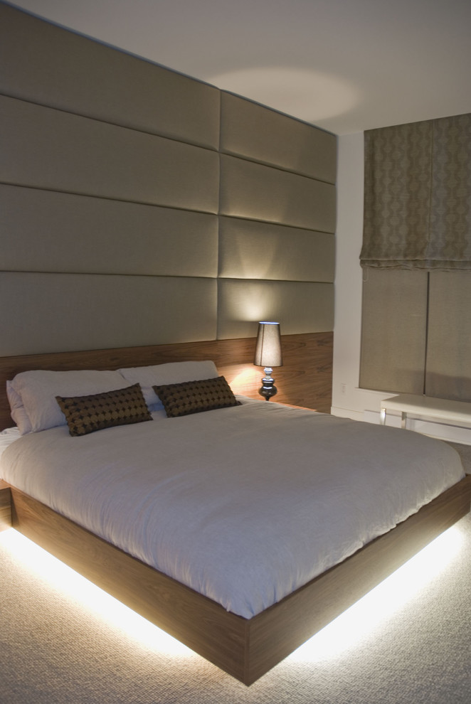 floating bed platform,  LED lights under, wooden headboard, leather accent wall, table lamp