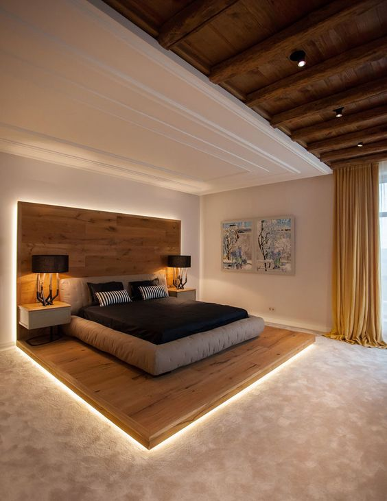 floating wooden board platform with floating side table, black table lamp, white wall, white ceiling, wooden ceiling, wooden beams, beige flooring