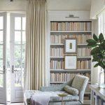 Grey Lounge Chair, Built In Bookshelves, White Wall, White Curtain, Glass Dor, Glass Window,