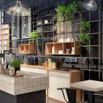 Kitchen, Black Seamless Floor, Black Wall, Black Rail, Floating Shelves, Floating Plants, Pendants, White Cabinet, Black Island, White Kitchen Top