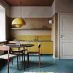 Kitchen, Green Floor Tiles, Beige Brown Wall And Ceiling, Yellow Minimalist Cabinet, Yellow Backsplash, Yellow Pendant, Dingin Set