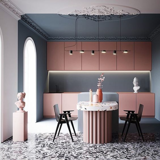 kitchen, grey floor, blue wall, blue white ceiling, pink cabinet, blue island, terrazzo dining table, black chairs