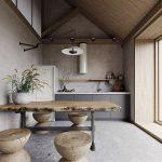Kitchen, Grey Floor Tiles, Beige Wall, Wooden Slab Table, Wooden Stools, Wooden Ceiling, Grey Cabinet, Floating Shelves, Pendant