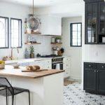 Kitchen, Patterned Floor, White Wall, White Bottom Cabinet, Glass Pendant, Wooden Shelves, Black Cabinet,