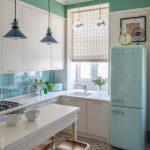 Kitchen, White Patterned Floor, White Kitchen Cabinet, Blue Pendant, White Dining Table, Wooden Stools, Blue Backsplash, Blue Fridge, Green Wall