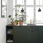 Kitchen, Wooden Floor, Dark Green Cabinet, White Wall, Black Pendants