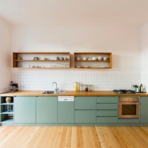 kitchen, wooden floor, white wall, white backsplash, soft green bottom cabinet wooden kitchen top