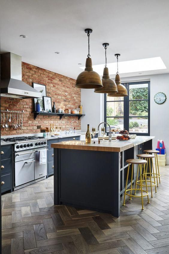 kitchen, wooden herringbone, open brick wall, white wall, wooden pendants, blue island with wooden top, blue wooden cabinet