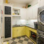 Laundry Room Decorations Chalkboard Black And Cream Floor Tile Yellow And White Cabinets White Subway Backsplash Washing Machine Drawers