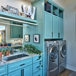 Laundry Room Decorations Tosca Cabinet Mirror Undermount Sink Faucet Indoor Plant Windows Shelves White Marble Countertop Drawers