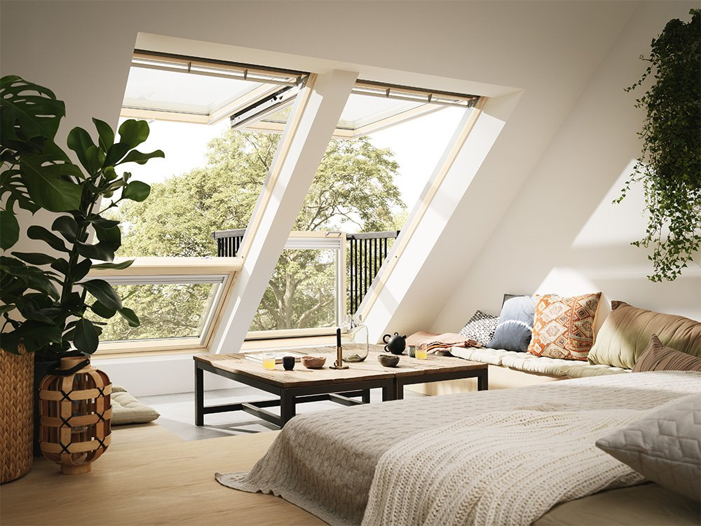 living room balcony, sloping ceiling, white wall, clear glass window, wooden stage, window square coffee table