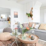 Living Room, Pastel Rug, Grey Sofa, White Wall, White Ceiling, Pastel Ottomans, Wooden Tray Cofee Table