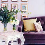 Living Room, Purple Sofa, Soft Purple Wall, White Purple Plaid Floor Tiles, White Side Table