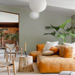 Living Room, Seamless Beige Floor, Rattan Rug, Wooden Chair With Grey Cushion, Orange Sofa, Wooden Slab Side Table, White Round Pendant