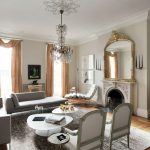 Living Room Sets With Chaise Lounge Crystal Chandelier Area Rug Gray Sofa Coral Window Curtains Gold Wall Mirror Fireplace Console Table White Coffee Table