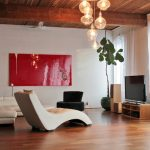 Living Room Sets With Chaise Lounge Glass Chandelier Red Wallart Wooden Floor Wooden Tv Cabinet White Curtains White Sofa White Walls Wood Beams