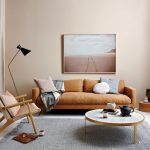 Living Room, White Floor, Grey Rug, Orange Sofa, White Marble Coffee Table, Wooden Chair With Woven Seating, Black Floor Lamp
