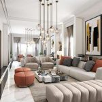 Living Room, White Marble Floor, White Beige Sofa, Beige Logn Bench, Beige Chairs, Orange Ottomans, Low White Coffee Table, Glass Lighting