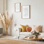 Living Room, Wooden Floor, Brown Rug, Wooden Tray Coffee Table, White Wall, White Sofa, Pillows, White Side Table