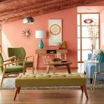 Living Room, Wooden Floor, Peach Wall, Green Chairs, Olive Bench, Blue Sofa, Wooden Coffee Table, Silver Floor Lamp, Wooden Ceiling