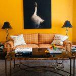 Living Room, Yellow Wall, Grey Floor Rug, Yellow Sofa, Glass Top Coffee Table, Black Table Lamp