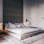 Master Bedroom, Wooden Floor, White Wall, Wooden Accent Wall, Wooden Bed Platform, Low Pendant, Rug, Built In Cabinet