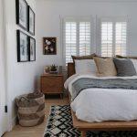 Master Bedroom, Wooden Floor, Wooden Bed Platform, Wooden Side Table, Black White Rug, White Wall