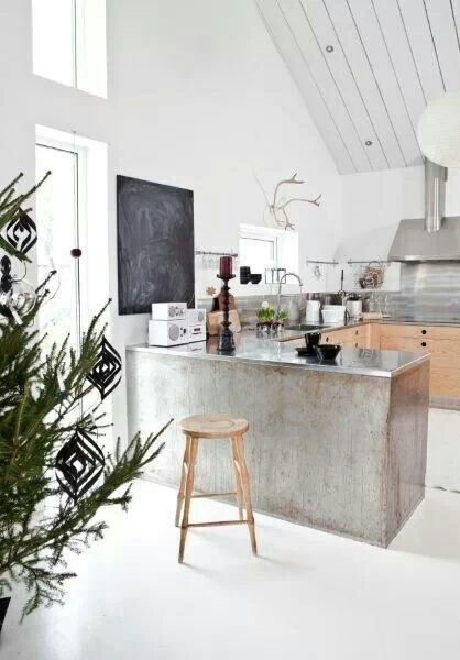 open kitchen, white seamless floor, silver industrial kitchen cabinet, white wall, white wooden vaulted ceiling